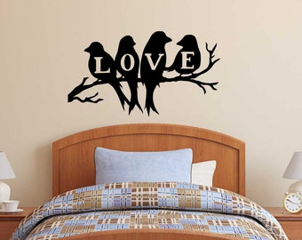 Birds in Love Wall Decal - Wall Decal  great Bedroom
