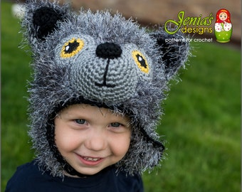 Crochet Wolf Hat for Boys and Girls - Size 3-5 years - Ready to Ship
