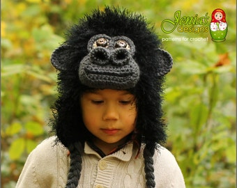 CROCHET PATTERN - Gorilla Crochet Hat Pattern, Monkey/Ape Hat Pattern for Baby, Child, Teen, Adult, Boys and Girls  - Photo Prop or Costume