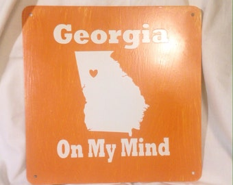 Hand Painted Georgia On My Mind 10x10 metal sign