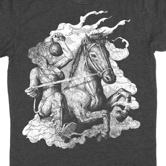 Gym Shirt - Mens Kettlebell Shirt - Gym Competition Shirt - Headless Horseman With a Kettle Bell Hand Screen Printed on a Mens T-Shirt