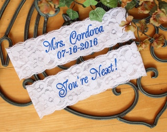 Bridal Garter Set, Bride Wedding Garter. toss garter, Something Blue, Custom Size Garter. IVORY or WHITE Lace. Canada GS0 S17