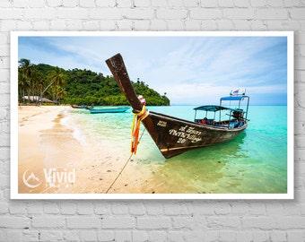 Thailand photography, long boat art print, Phi Phi Island framed print, matted asian art, thai wall art, crystal blue water, wood boat, teal