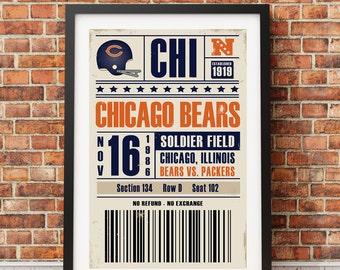 Chicago Bears Retro Ticket Print