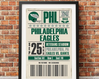Philadelphia Eagles Retro Ticket Print