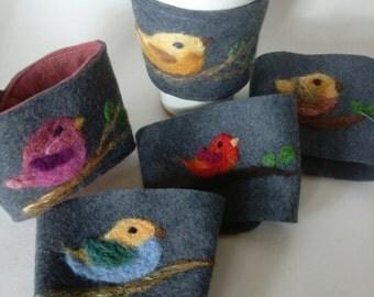 Handmade Bird Themed Wool Felt Coffee Sleeve