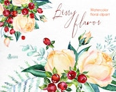 Berry Flavor. Watercolor Bouquets and Wreath, hand painted clipart, floral, roses, christmas, winter, greeting card, diy, new year, flowers