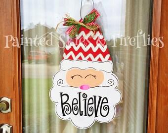 Santa Christmas Door Hanger / Wooden Door Hanger / Christmas Decor / Christmas Gift / Santa Claus / Merry Christmas
