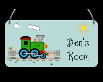 Train Door Plaque - Child's name, Personalised, Wall Sign, Girls, Boys - FREE POSTAGE