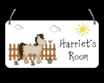 Pony Door Plaque - Child's name, Personalised, Wall Sign, Girls, Boys