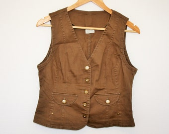 Womens Brown Waistcoat  Brown Cotton Vest Romantic Fitted Secretary Country Traditional Size  Medium