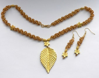 Gold Leaf Necklace and Earrings
