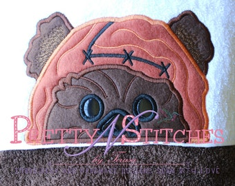 Applique Peeker Embroidery design inspired by Ewok of Star Wars (5X7 Hoop