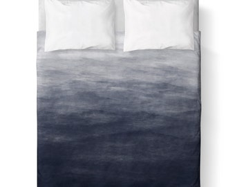 Navy Blue Grey Watercolor Ombre Duvet Cover/ Comforter cover/ 3 sizes available, king, queen, twin /bedding/ Blue Grey Ombre