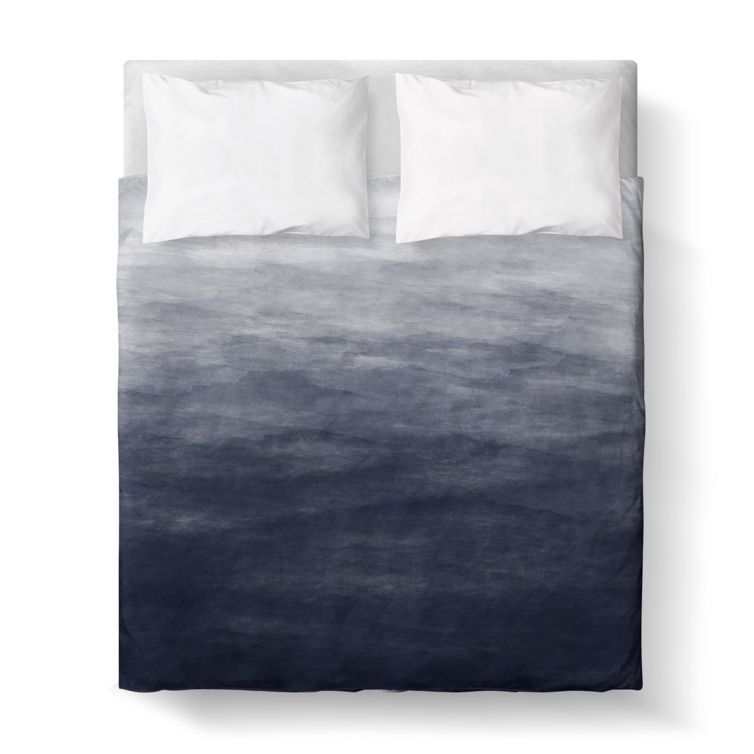 Navy Blue Grey Watercolor Ombre Duvet Cover Comforter Cover