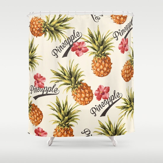 shower curtain pineapple tropical flowers by