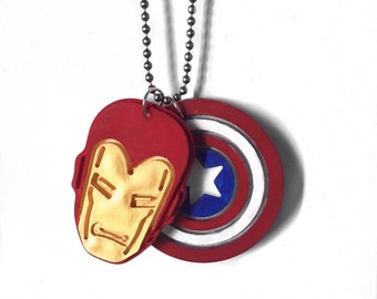 SALE! Marvel Civil War necklace (Iron man and Captain America)