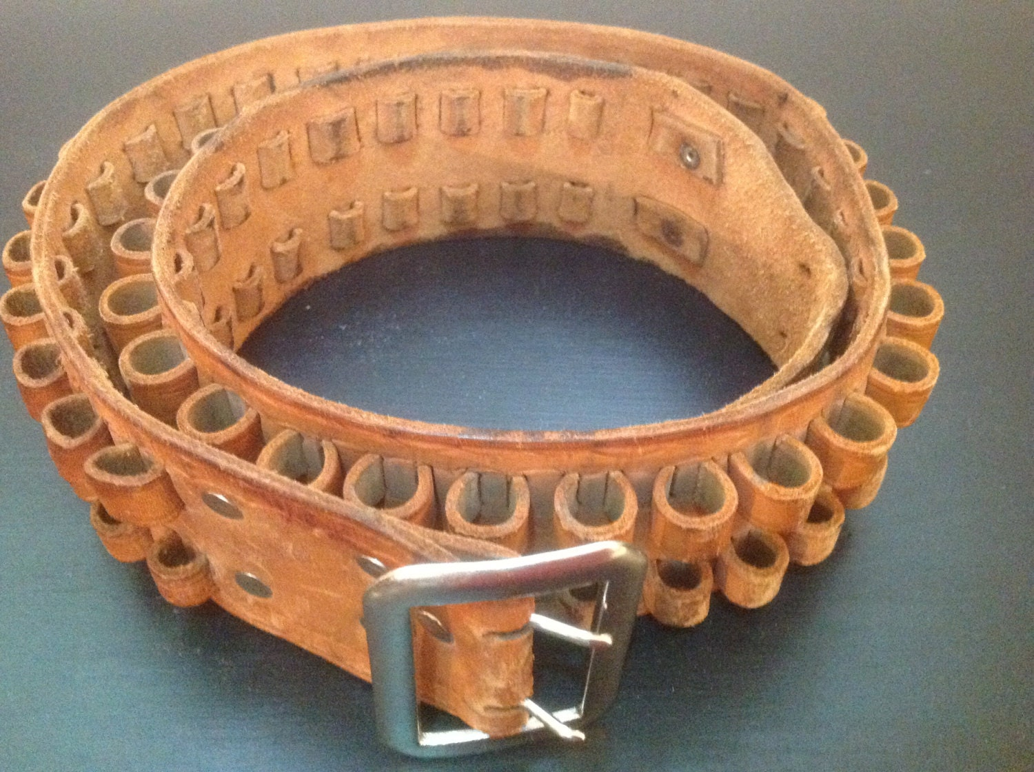 vintage 80 s leather cartridge ammo belt by