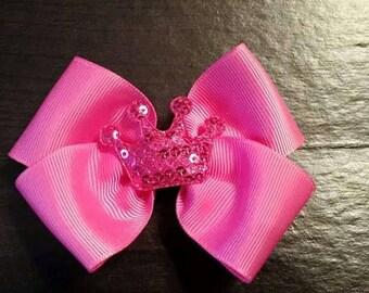 Bright Pink Princess Crown simple bow