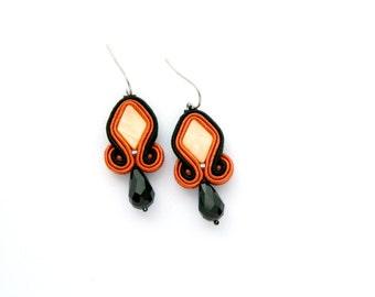 Diamond-shaped, orange earrings, dark orange earrings, black earrings, crystal earrings, soutache earrings, small drop earrings, embroidered