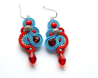 Red earrings, blue earrings, red blue earrings, embroidered earrings, soutache earrings, dangle earrings, drop earrings, crystal earrings