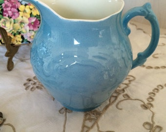 """George Jones & Sons, Crescent China, Baby Blue  Embossed, Milk Jug/Creamer. 4"""" High.  Made in England c1930s"""