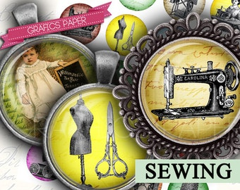 """Vintage Sewing - digital collage sheet - td212 - 1.5"""", 1.25"""", 30mm, 1 inch circles - Printable Images - Round for Pendants, magnets, glass"""