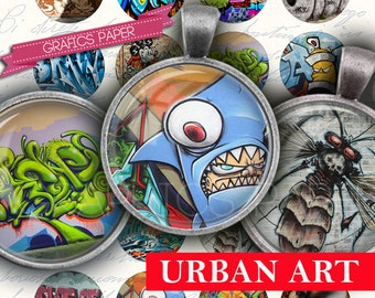 """Graffiti, urban art Circles, Digital collage sheet 1.5"""", 1.25"""", 30mm, 1 inch images circle Glass & Resin, Images necklace cabochon - td159"""