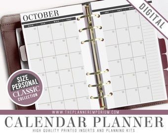 Personal Calendar Planner Inserts - CLASSIC Collection - Fits Kikki K Medium, Filofax Personal Printable - Undated Monthly View with Notes