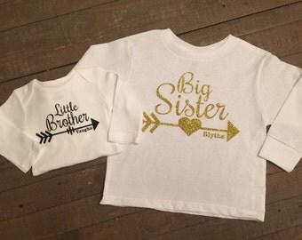 Big Sister Little Brother Arrow Long Sleeve Shirt Set