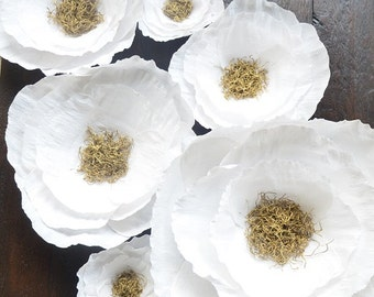 Wedding Flower Backdrop-White and Gold Paper Flowers-Boho Nursery-Giant Paper Flowers-Nursery Wall Flowers- Giant Photo Booth Backdrop
