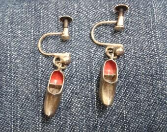 Vintage Silver Clog Earrings