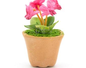 Dollhouse Miniatures Handcrafted Clay Cyclamen Plant Flower Flora in Hexagon Flowerpot