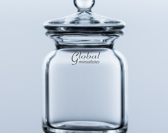 Dollhouse Miniatures Cylindrical-Shaped Glass Cookie Jar Canister with Removable Lid