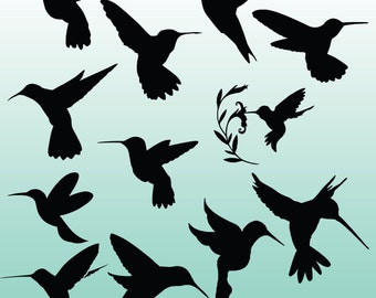 12 Hummingbird Silhouette Digital Clipart Images, Clipart Design Elements, Instant Download, Black Silhouette Clip art