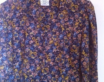 """SALE WAS 60 Dress. Laura Ashley Blue and Mustard Yellow Floral Long Sleeve Button Front Autumn Winter Dress. Size 10-12 Bust 36"""". 1980s, 80s"""
