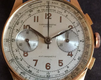 Vintage Solid 18k Rose Gold Chronographe Suisse Chronograph