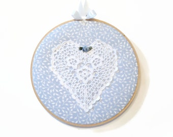 """SALE!!! Fabric Hoop 7"""" Heart Doily Hoop Art, shabby chic Home Decor 7"""" round hoop quilted hoop decor country cottage chic bedroom wall decor"""