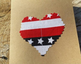 Customizable Handmade Heart Card/Fabric Scrap Heart Card/Handmade Patriotic Card Handmade Greeting Card/Blank Heart Card Valentines Day Card