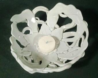 Porcelain Tea Light holder bowl#F32 handbuilt by Skip Lyman