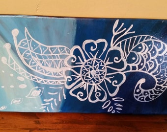 Henna inspired canvas painting