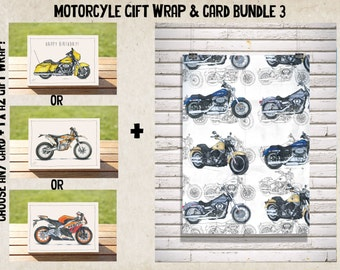 Clean Cruiser Gift Wrap - Wrapping Paper - Wrap + Card Bundle No. 3 | Harley Davidsons A2 Premium Satin Finish Wrap + ANY CARD!