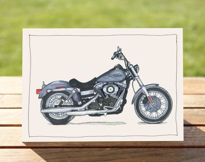 "Motorcycle Gift Card Harley Davidson Street Bob | A6 - 6"" x 4""  / 103mm x 147mm  