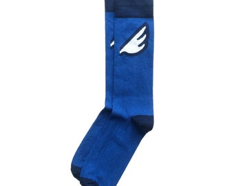 "Unique Royal Blue Wing Men's Fun Colorful Dress / Casual Socks - ""Wingman"" Christmas Holiday Stocking Stuffer"
