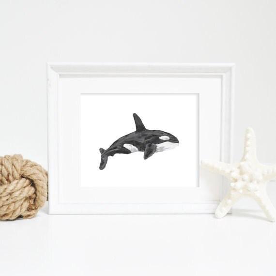 Watercolor Orca, Whale Wall Art Print, Orca Print, Orca Artwork, Orca Art Print, Whale Print, Whale Wall Art, Nursery Whale, Nursery Decor