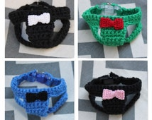 TeenyTiny Handmade Crochet Dog/Puppy/Kitten Harness w/Bow Bowtie, 1 to under 2 lb 7 to 10 Inch Girth, Crocheted of 100% Cotton With D-Ring