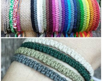 Hemp Bracelet - For Men or Women - Made to Order Friendship Bracelet - You Choose Color