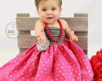 Mommy Miss Lily Dress Photo Prop Hot Pink/Silver Dots