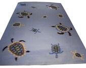 Blue Rug with Sea Turtle Motif, 6x9 - Kids Room Decor, Home Decor, Area Rug 6x9, Sky Blue