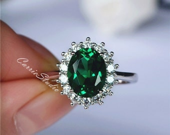 Gorgeous Oval Emerald Ring Emerald Engagement Ring/ Wedding Ring 925  Sterling Silver Ring Anniversary Ring Promise Ring